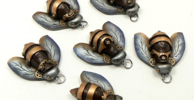 Swarm of Steampunk Bee Pendants