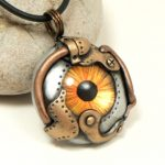 Amber Steampunk Eye Necklace