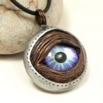 Blue Bio-Mech Eye Necklace